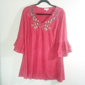 Umgee Red Velvet Embroidered Tunic Dress Womens S